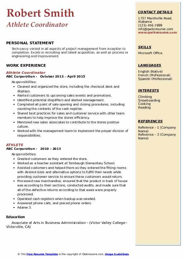 athlete resume samples  qwikresume