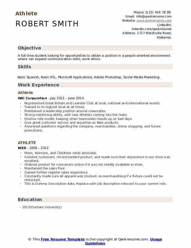 Athlete Resume example