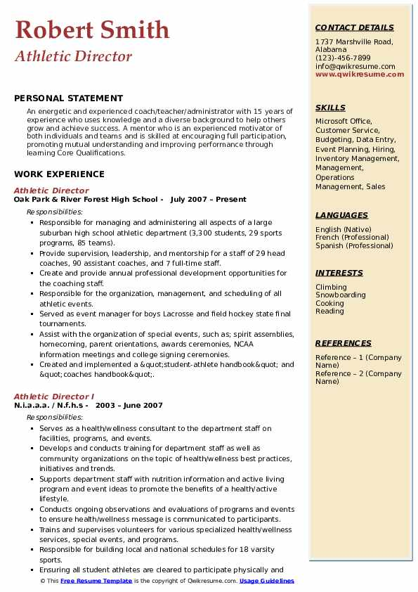 Athletic Director Resume Sample