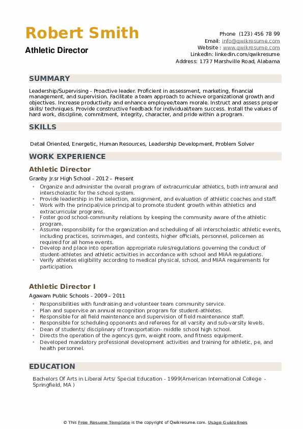 Athletic Director Resume Samples Qwikresume
