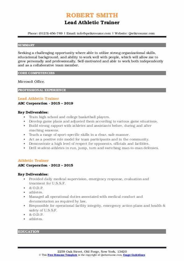 Lead Athletic Trainer Resume Model