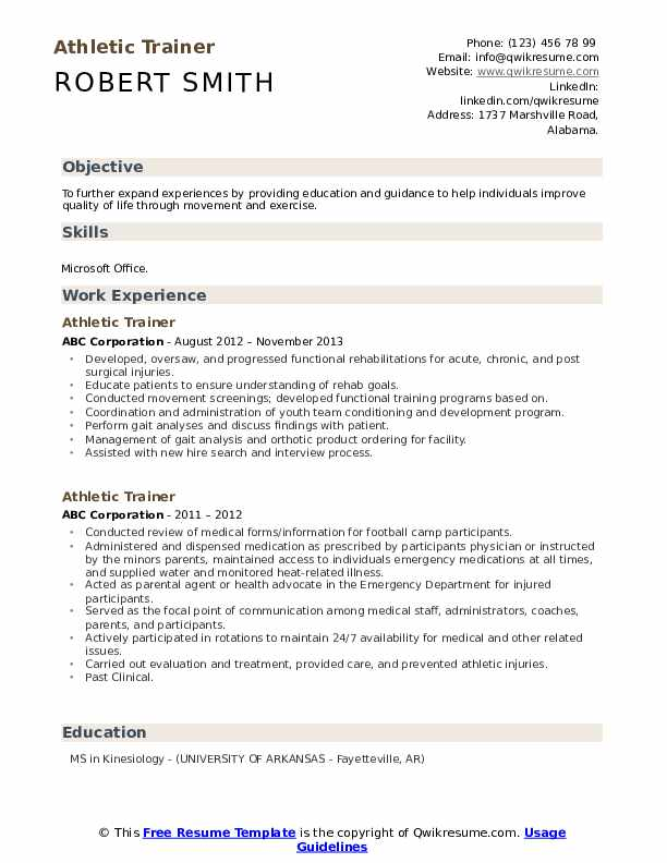 Athletic Trainer Resume example