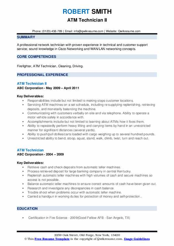 Atm engineer sample resume pay to get geometry report