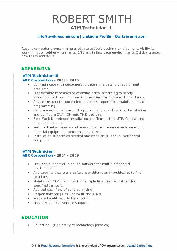 Atm engineer sample resume facts about egypt for homework