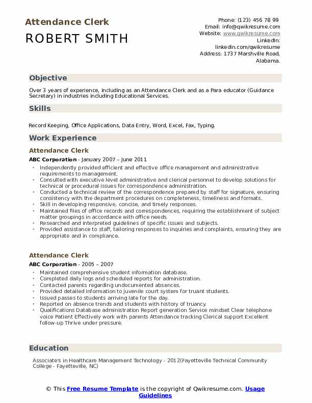 Attendance Clerk Resume Samples Qwikresume