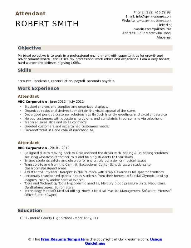 Attendant Resume Sample