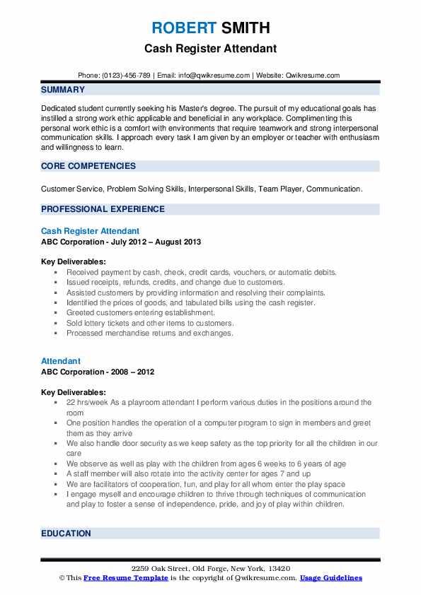 Cash Register Attendant Resume Template