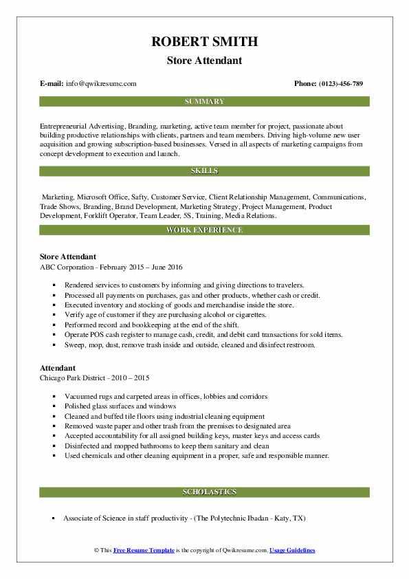 Store Attendant Resume Format