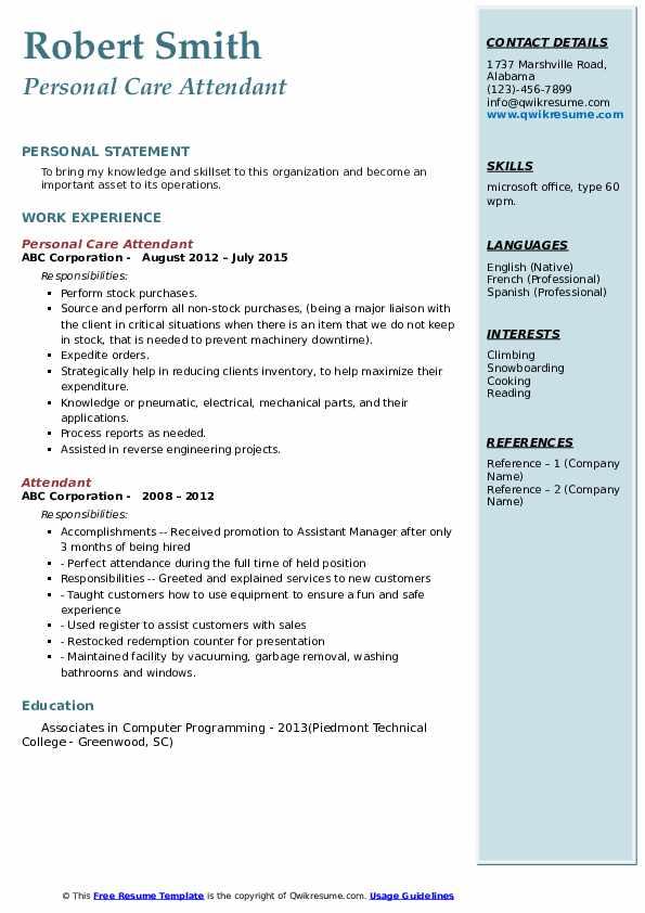 Personal Care Attendant Resume Model