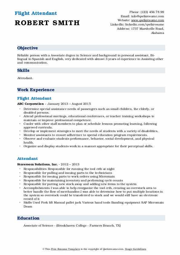 Flight Attendant Resume Format