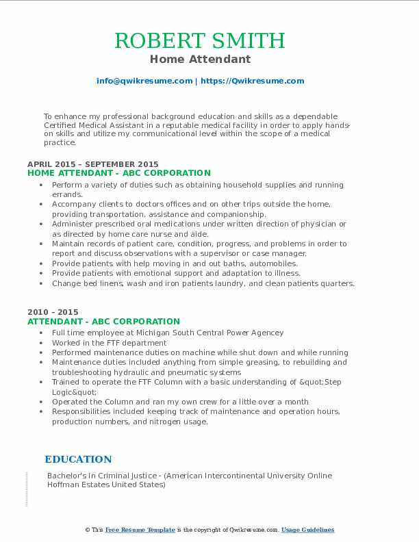 Home Attendant Resume Template