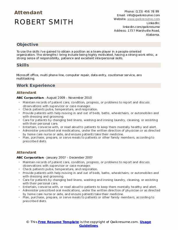Attendant Resume example