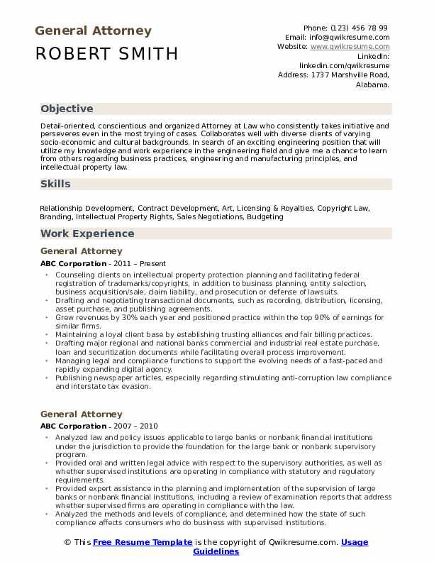 ATTORNEY Resume Samples