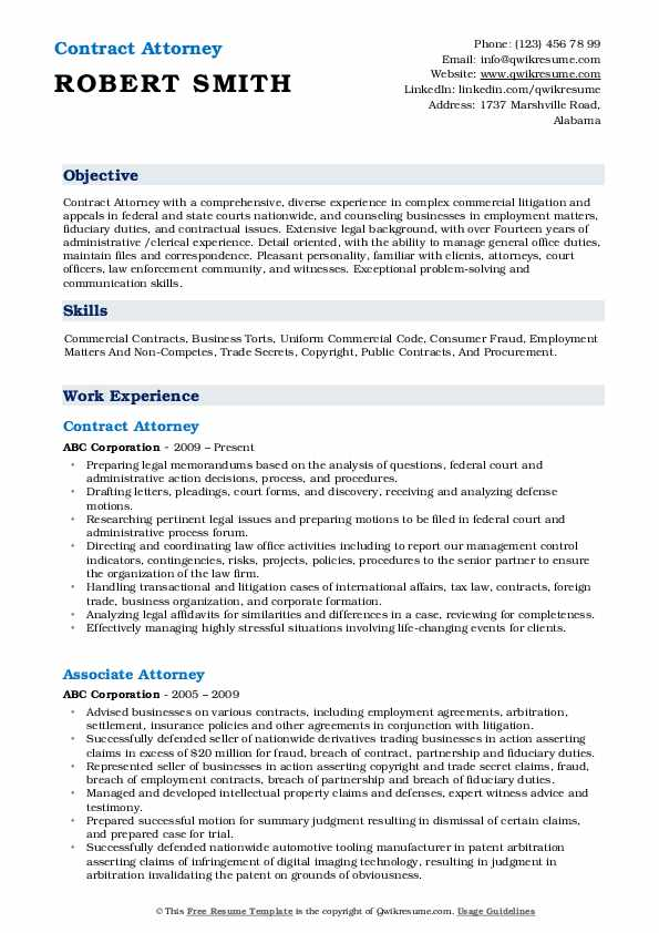 Attorney Resume Samples Qwikresume