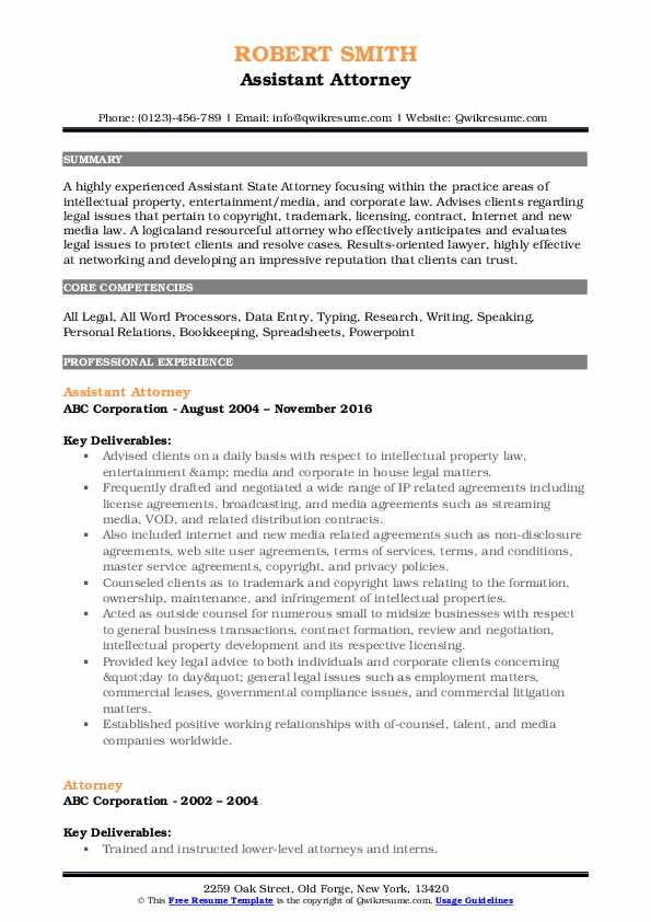 Assistant Attorney Resume Sample