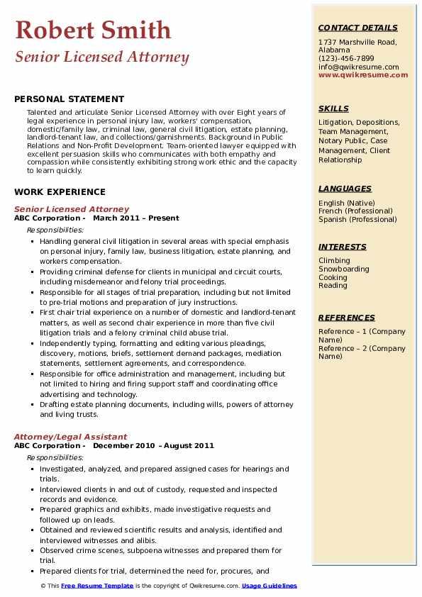 Attorney Resume Samples Qwikresume