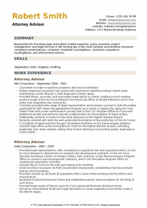 Attorney Advisor Resume example