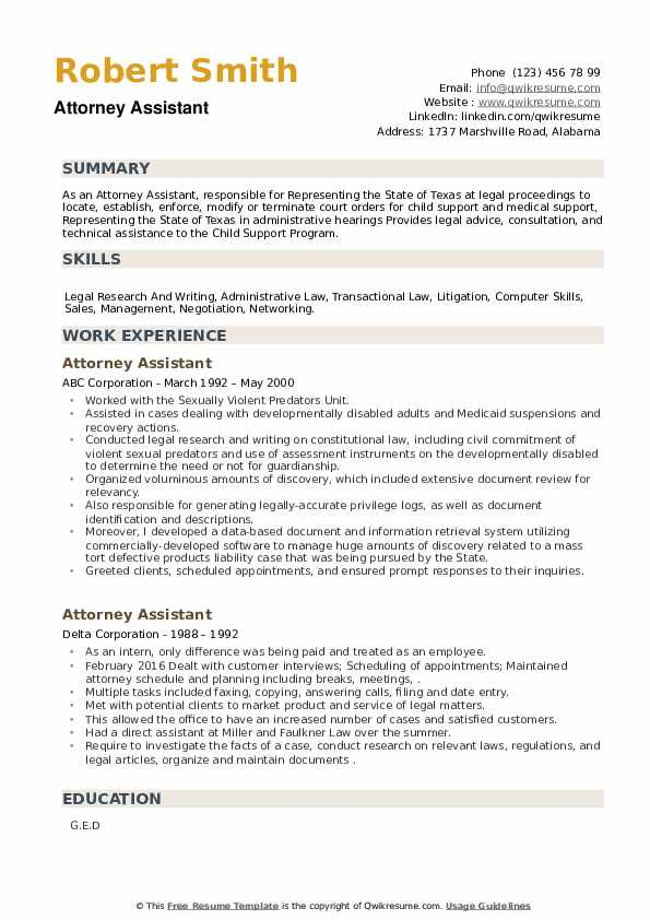 Attorney Assistant Resume example