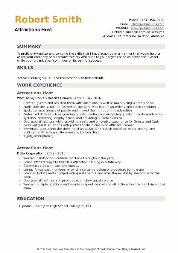 Attractions Host Resume example