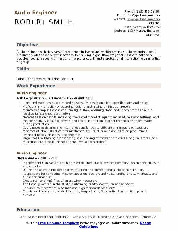 Audio Engineer Resume Format
