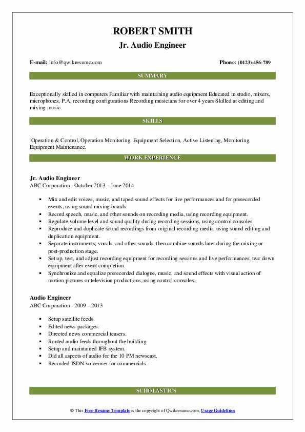 Jr. Audio Engineer Resume Format