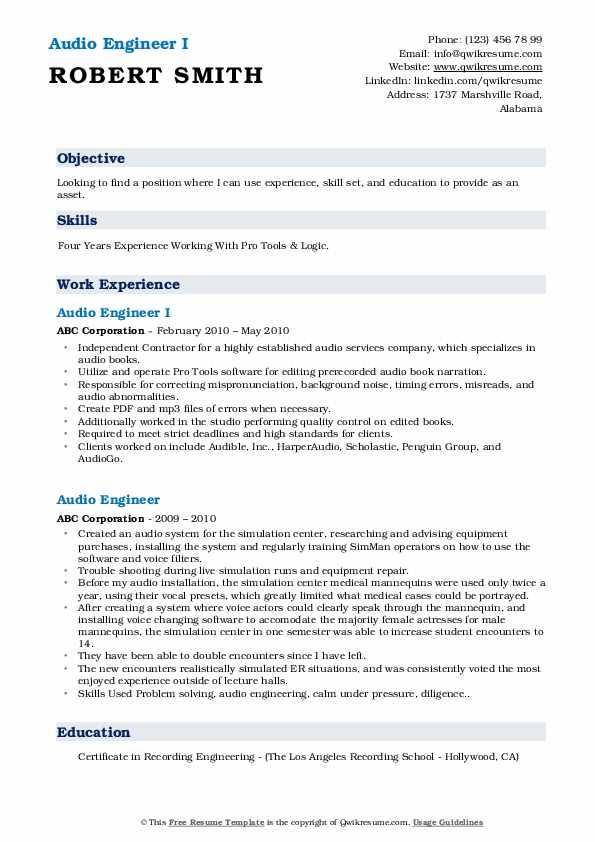 Audio Engineer I Resume Format