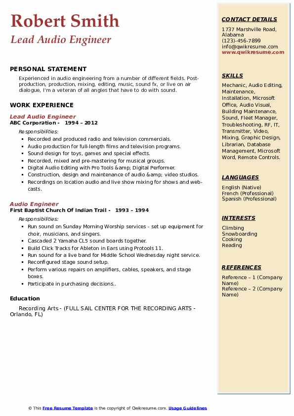 Audio Engineer Resume Samples Qwikresume