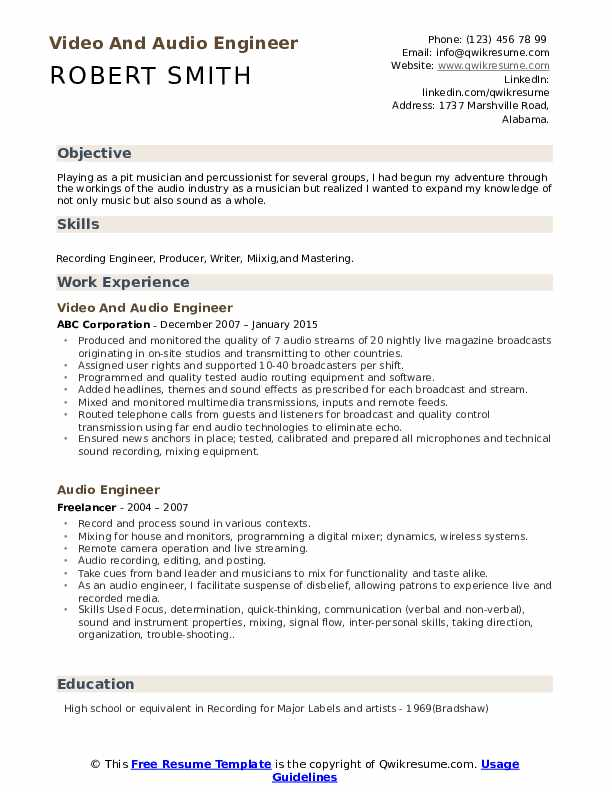 Video And Audio Engineer Resume Format