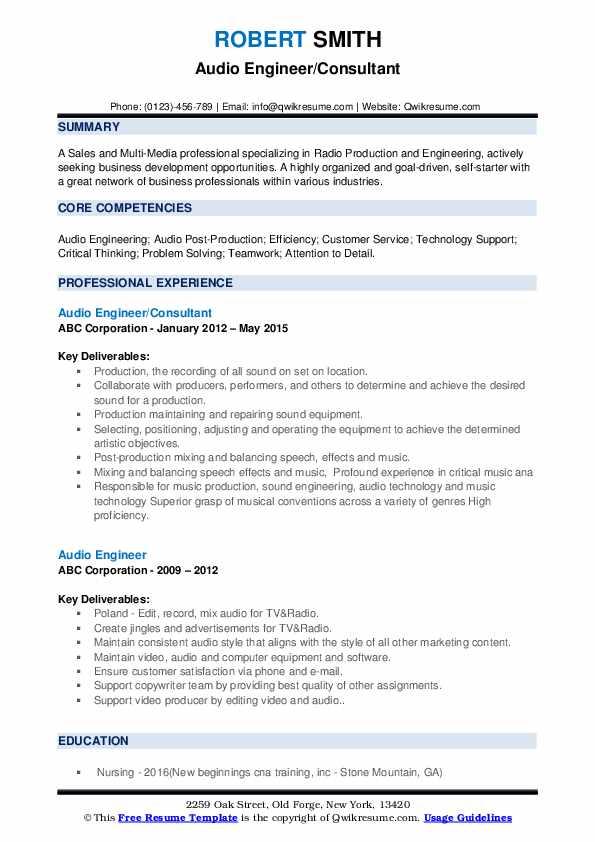 Audio Engineer/Consultant Resume Model