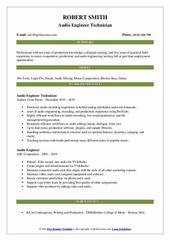 Audio Engineer Technician Resume Model