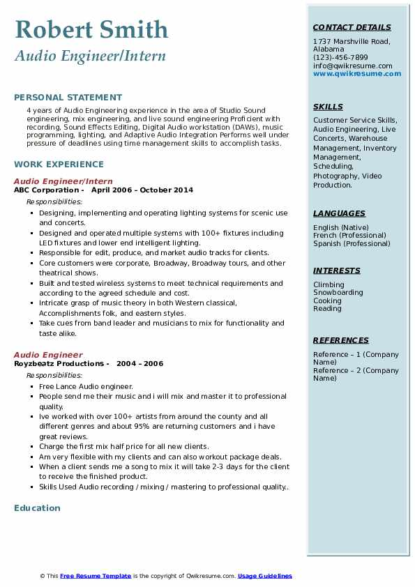 Audio Engineer/Intern Resume Format