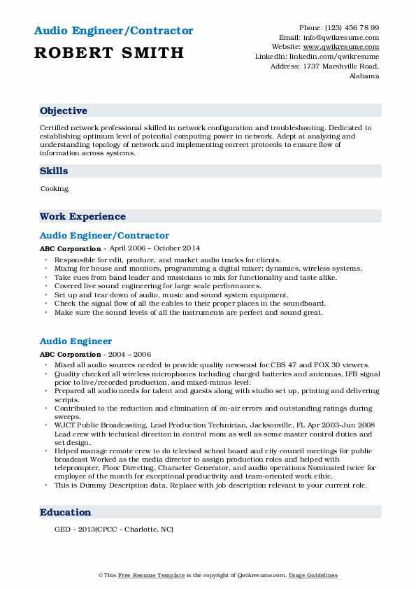 Audio Engineer/Contractor Resume Model
