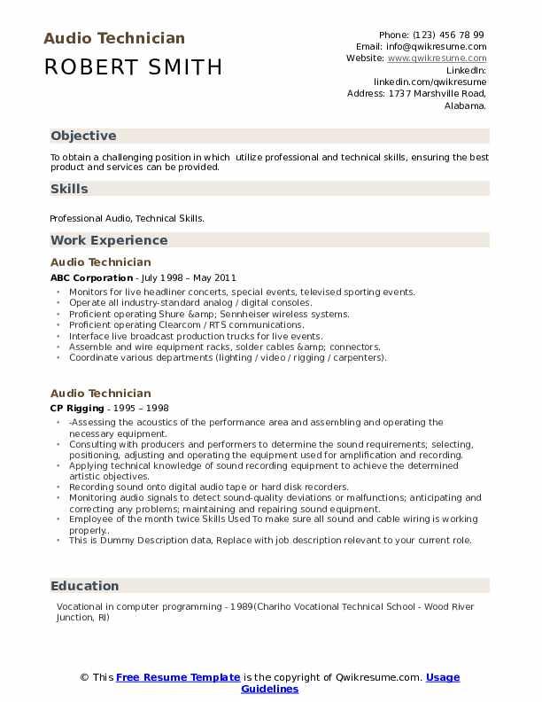 Audio Technician Resume example