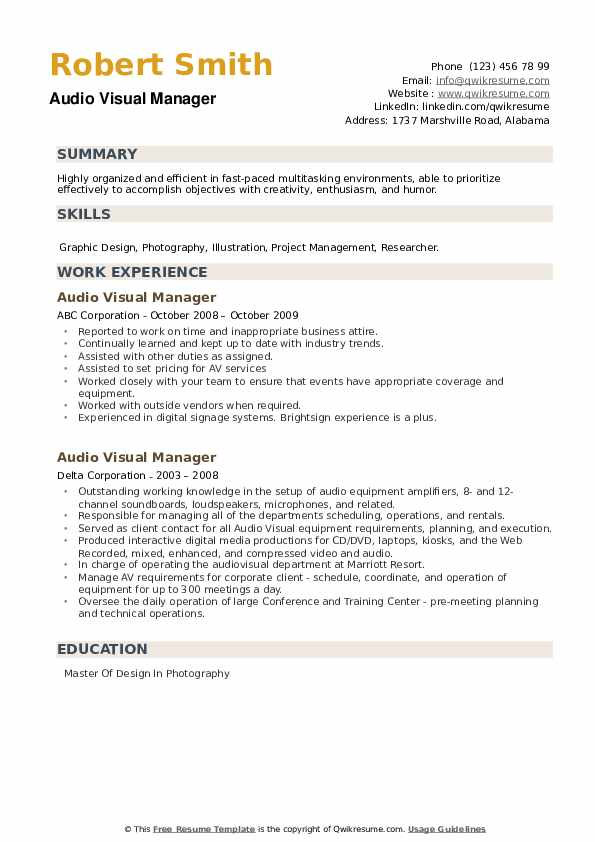 Audio Visual Manager Resume example