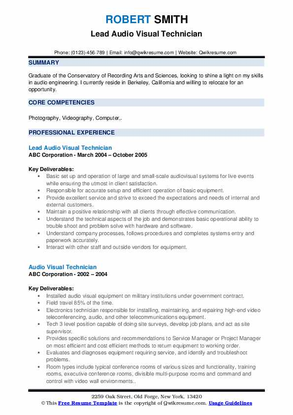 Lead Audio Visual Technician Resume Template