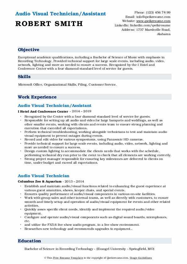 Audio Visual Technician/Assistant Resume Template