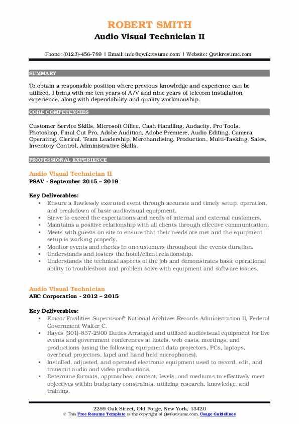 audio visual technician resume samples