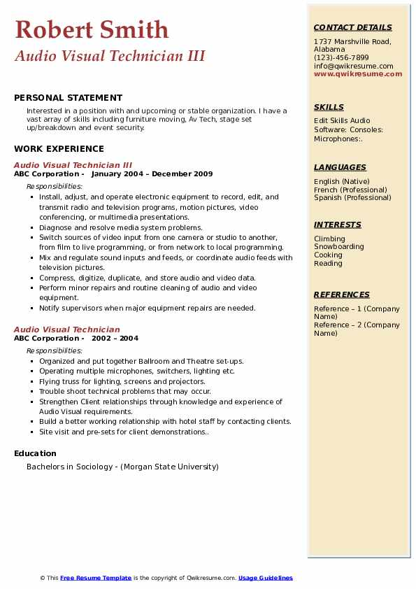 audio visual technician resume samples