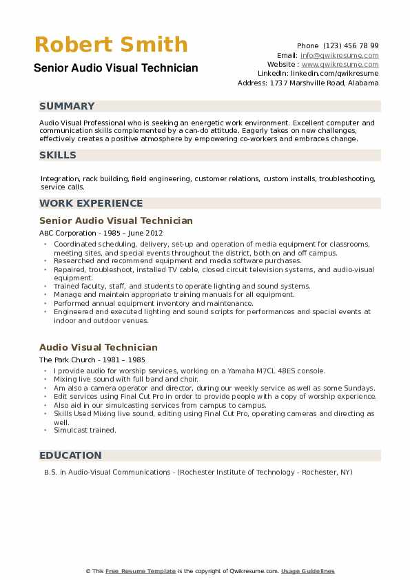 Senior Audio Visual Technician Resume Template