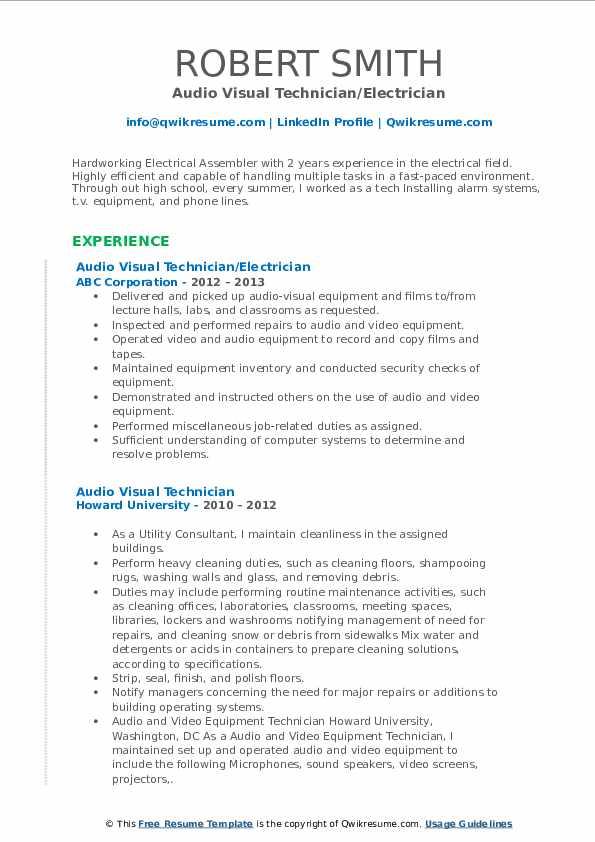 Audio Engineer III Resume Format