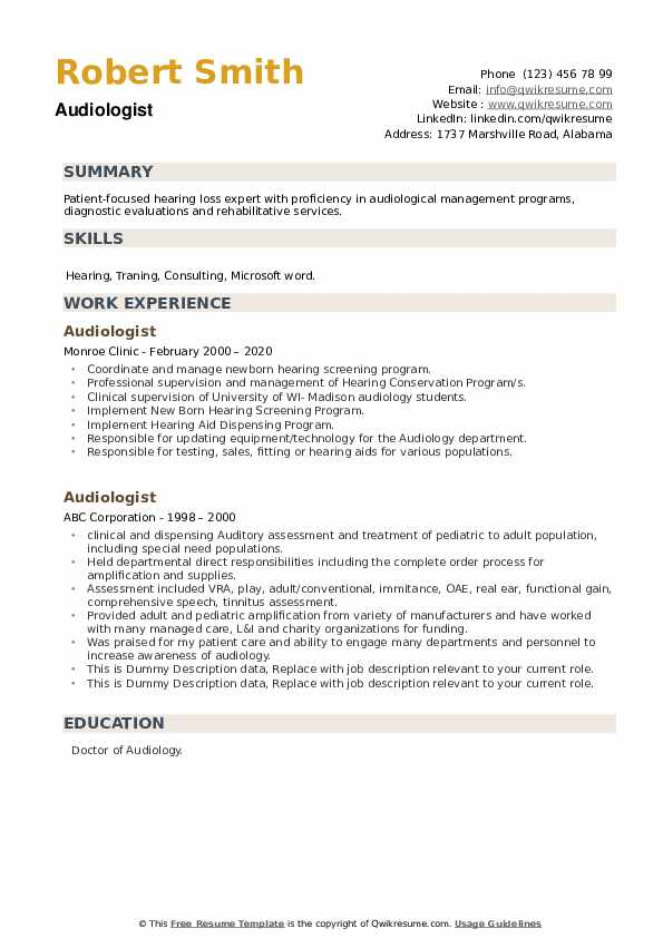 Audiologist Resume example