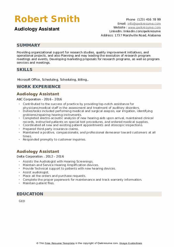 Audiology Assistant Resume example
