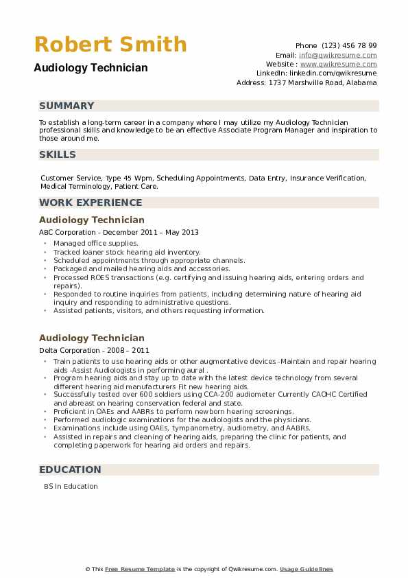 Audiology Technician Resume example