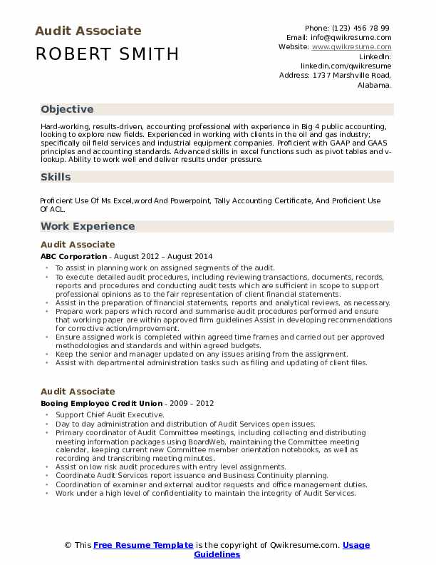 Audit Associate Resume Samples Qwikresume