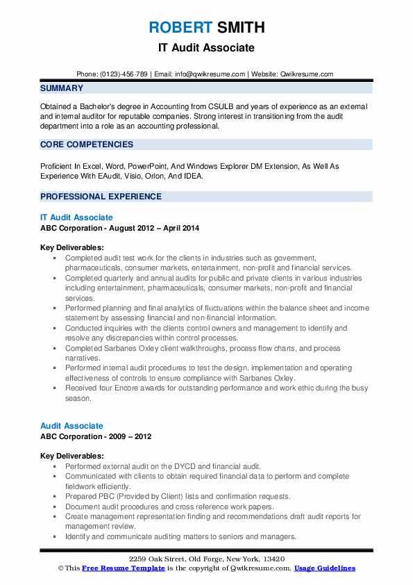 IT Audit Associate Resume Example