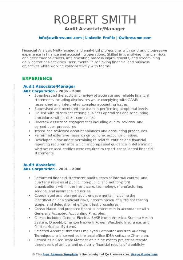 Audit Associate/Manager Resume Format