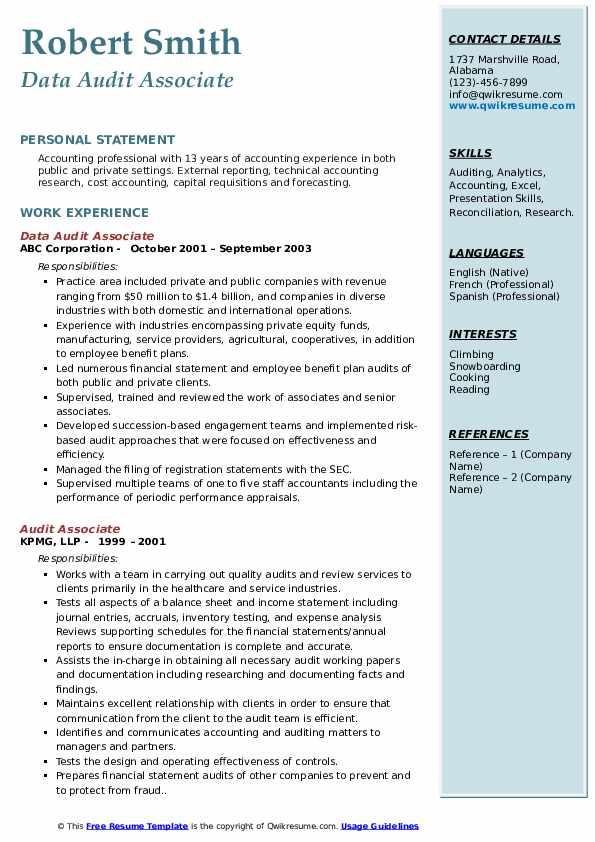 Data Audit Associate Resume Format