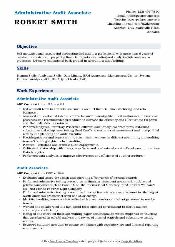 Administrative Audit Associate Resume Model