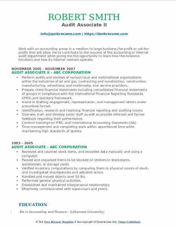 Audit Associate II Resume Example
