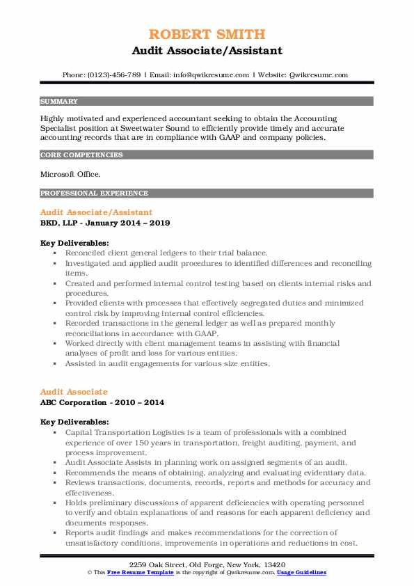 Audit Associate/Assistant Resume Template